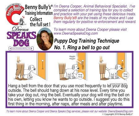 Deena Speaks Dog Benny Bullys Instruction Booklet - Dog Number 1 - Ring a bell to go out